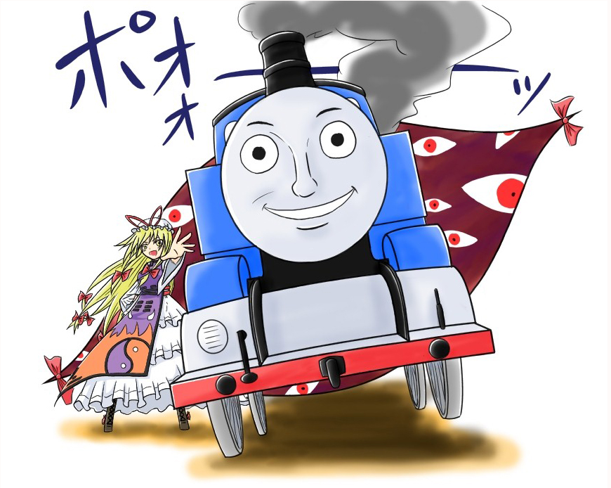 error eyes face gap locomotive parody steam_locomotive thomas_the_tank_engine touhou train viva!! what yakumo_yukari yin_yang