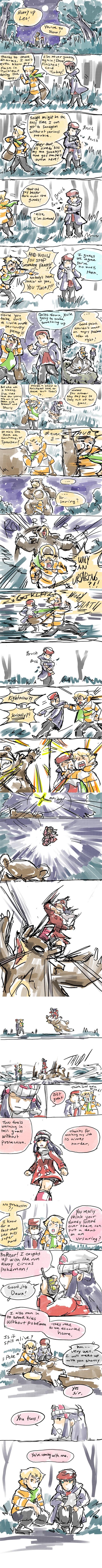 1girl 2boys ;_; absurdres beanie bike_shorts black_hair blonde_hair blue_eyes coat english gameplay_mechanics grass hat highres hikari_(pokemon) jun_(pokemon) kicking kouki_(pokemon) long_image multiple_boys njike pokemon pokemon_(creature) pokemon_(game) pokemon_dppt starly tall_image twitch_plays_pokemon ursaring walkie-talkie yellow_eyes