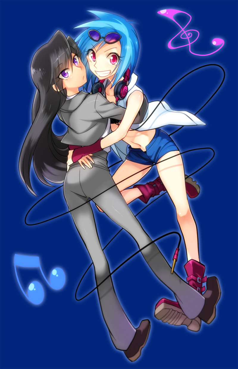 2girls black_hair blue_background blue_hair boots frown grin headphones headphones_around_neck highres hug jacket long_hair long_sleeves looking_at_viewer megarexetera multiple_girls musical_note my_little_pony my_little_pony_friendship_is_magic navel octavia_(my_little_pony) pants personification pink_hair shoes short_hair shorts smile sunglasses sunglasses_on_head vest vinyl_scratch violet_eyes