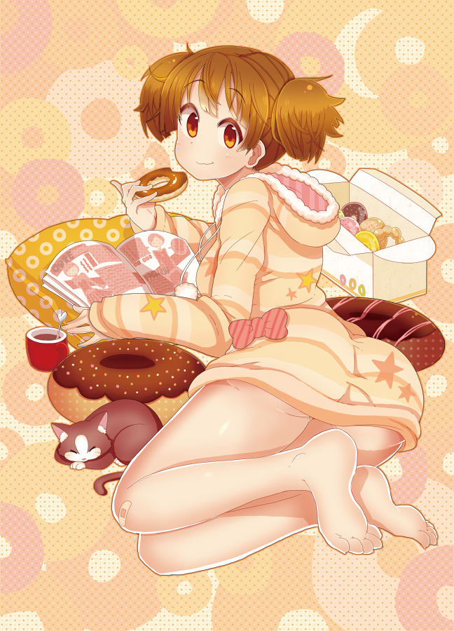 1girl ass barefoot box brown_eyes brown_hair cat doughnut hoodie k-on! kuzu_kow manga_(object) pillow short_hair suzuki_jun twintails