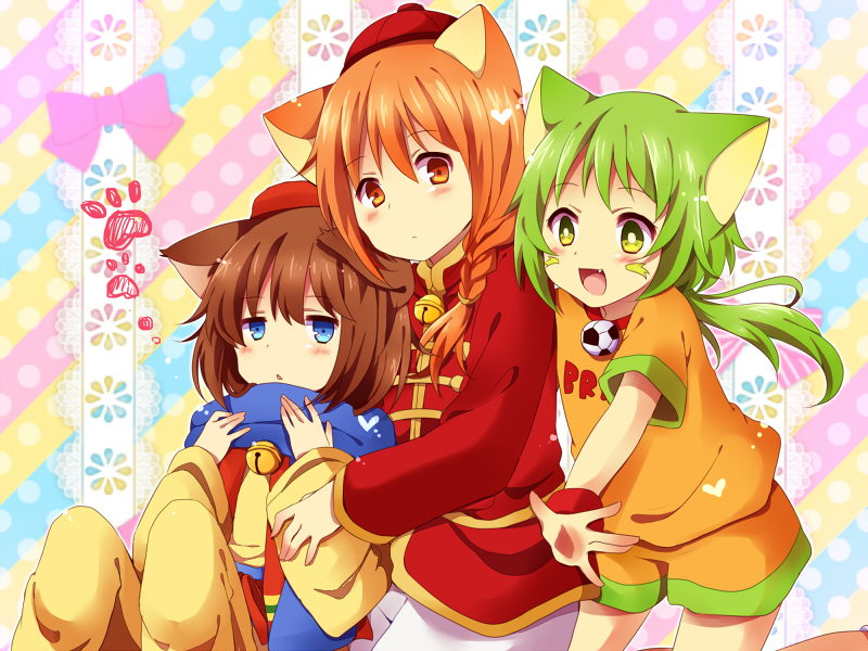 3boys animal_ears ball bell blue_eyes blush braid brown_hair cat_ears chinese_clothes cowboy_shot dora-nichov dora-rinho doraemon fang green_eyes green_hair hat heart long_sleeves looking_at_viewer multiple_boys orange_eyes orange_hair personification scarf short_sleeves single_braid soccer_ball tangzhuang the_doraemons trap uguisu_mochi_(ykss35) wang_dora