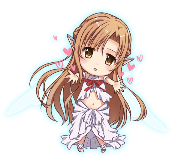 1girl asuna_(sao) brown_eyes brown_hair chibi ear_covers elf long_hair looking_at_viewer navel pointy_ears sword_art_online takigawa_yuu titania_(sao) yuuki_asuna