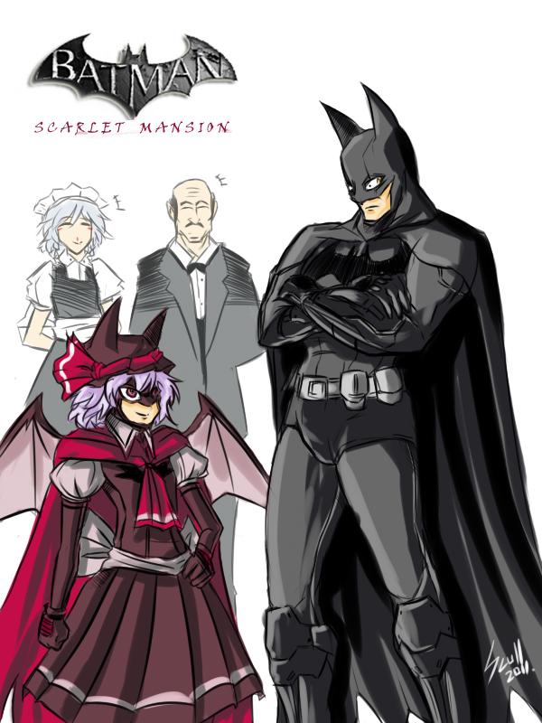 alfred_pennyworth artist_request bat_wings batman batman:_arkham_asylum batman_(cosplay) batman_(series) butler cosplay crossover dc_comics izayoi_sakuya maid remilia_scarlet shocked_eyes touhou wings