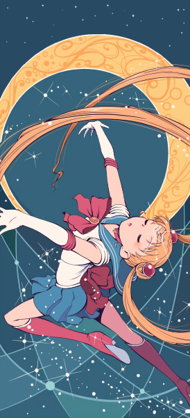 1girl bishoujo_senshi_sailor_moon blonde_hair blue_background blue_skirt boots bow brooch choker closed_eyes crescent_moon double_bun elbow_gloves gloves hair_ornament hairpin jewelry knee_boots long_hair magical_girl moon outstretched_arms pleated_skirt purimari ribbon sailor_moon skirt solo spread_arms tiara tsukino_usagi twintails white_gloves