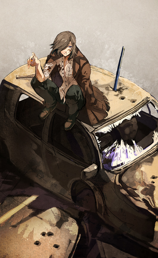 blood broken_glass brown_hair car cloak glass hair_over_one_eye mob_strike motor_vehicle open_clothes open_shirt shirt short_hair sitting sitting_on_car solo sword vehicle weapon