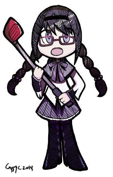 1girl akemi_homura black_hair braid cappy chibi glasses golf_club hairband long_hair mahou_shoujo_madoka_magica open_mouth pantyhose red-framed_glasses signature simple_background solo transparent_background twin_braids violet_eyes