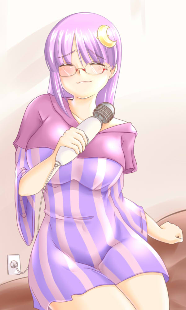 :3 alternate_costume bespectacled blush breasts closed_eyes contemporary crescent dress electric_socket glasses hair_ornament hairclip hitachi_magic_wand large_breasts long_hair massager patchouli_knowledge purple_hair reizou short_dress sitting striped touhou vertical_stripes