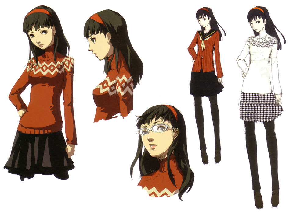 amagi_yukiko black_eyes black_hair character_sheet concept_art glasses hairband hand_on_hip legs long_hair official_art pantyhose persona persona_4 profile skirt soejima_shigenori sweater