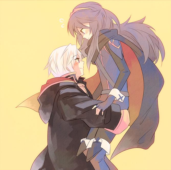 blue_hair blush cape carrying fire_emblem fire_emblem:_kakusei gloves long_hair lucina mejiro my_unit nintendo robe smile white_hair