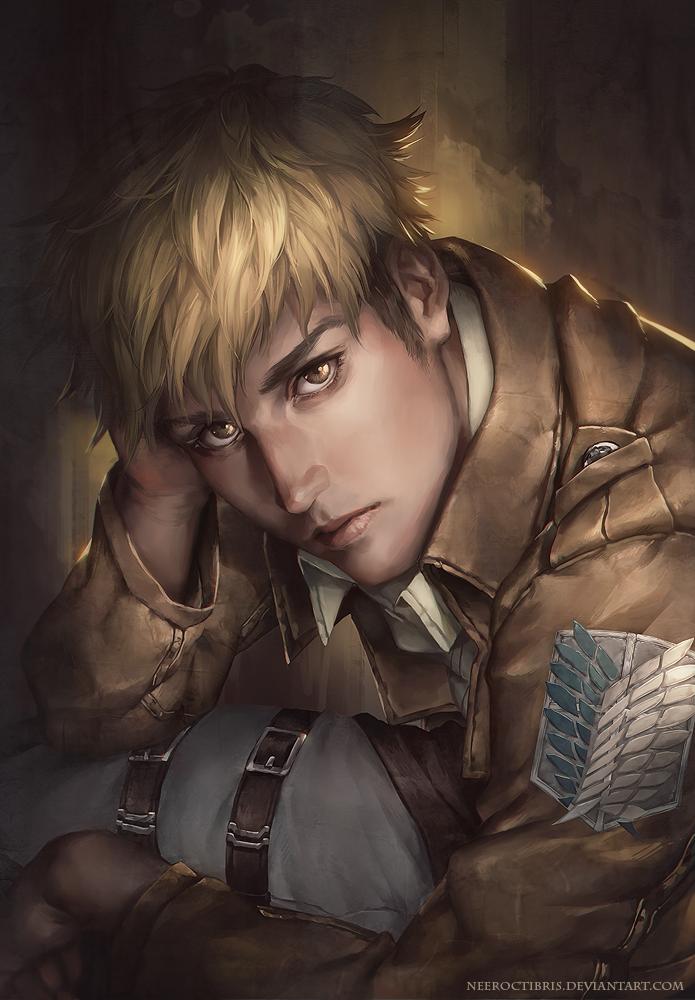 1boy blonde_hair hand_on_own_head jean_kirchstein jurikoi male portrait realistic shingeki_no_kyojin solo watermark web_address