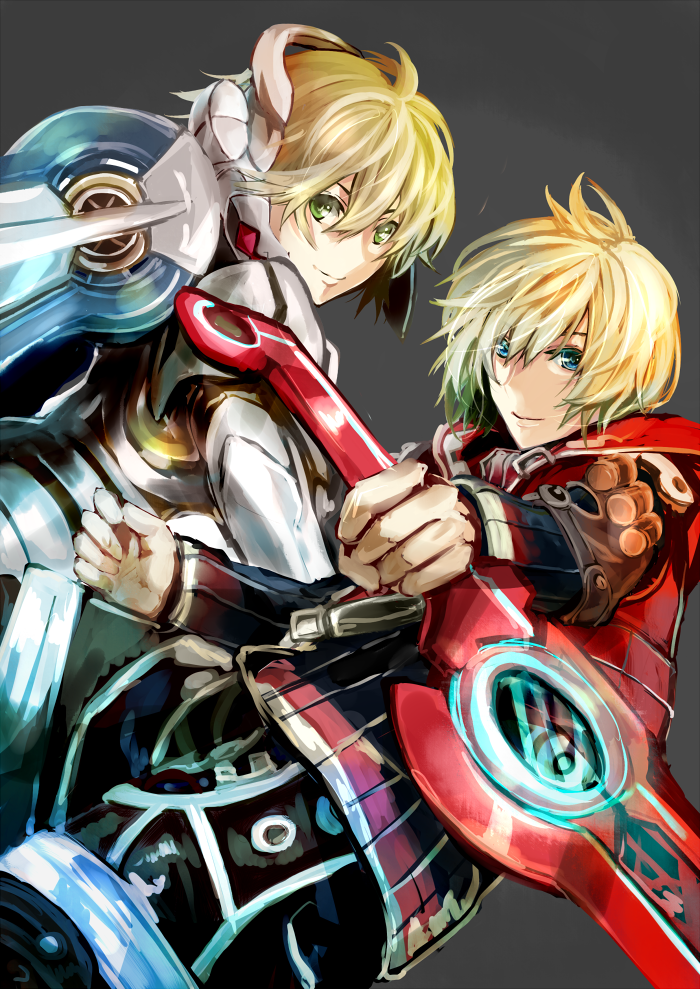 1boy 1girl blonde_hair blue_eyes fiorun green_eyes monado natsuyuki short_hair shulk spoilers sword weapon xenoblade