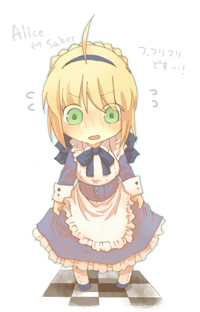 alice_in_wonderland alice_liddell blonde_hair blue_dress brushing checkered checkered_floor dress fate/stay_night fate_(series) food green_eyes mochi saber wagashi