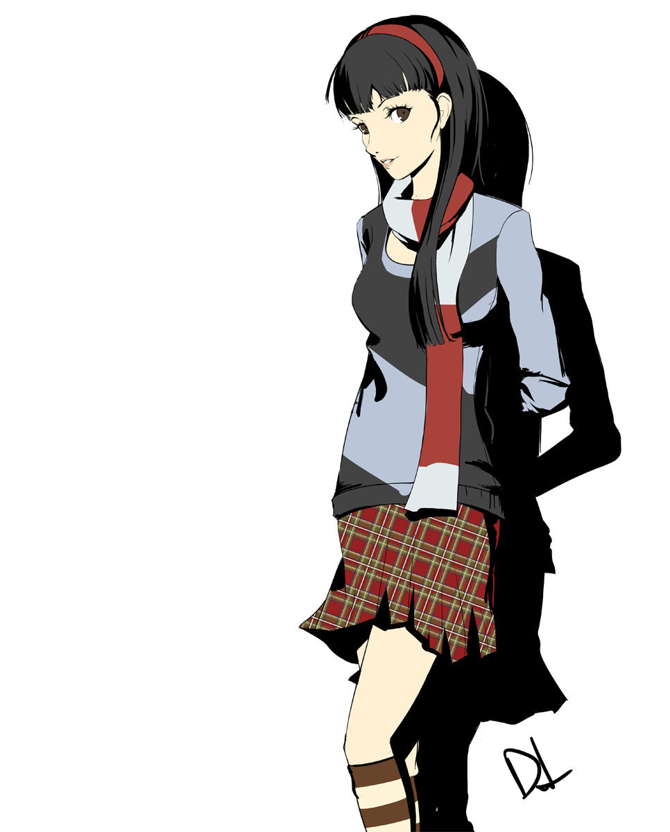 1girl amagi_yukiko arms_behind_back atlus black_hair brown_eyes commentary cosplay dh_(brink_of_memories) female_protagonist_(persona_3) female_protagonist_(persona_3)_(cosplay) hairband highres kneehighs long_hair megami_tensei official_style persona persona_3 persona_3_portable persona_4 scarf shiomi_kotone shiomi_kotone_(cosplay) signature skirt solo striped striped_legwear white_background