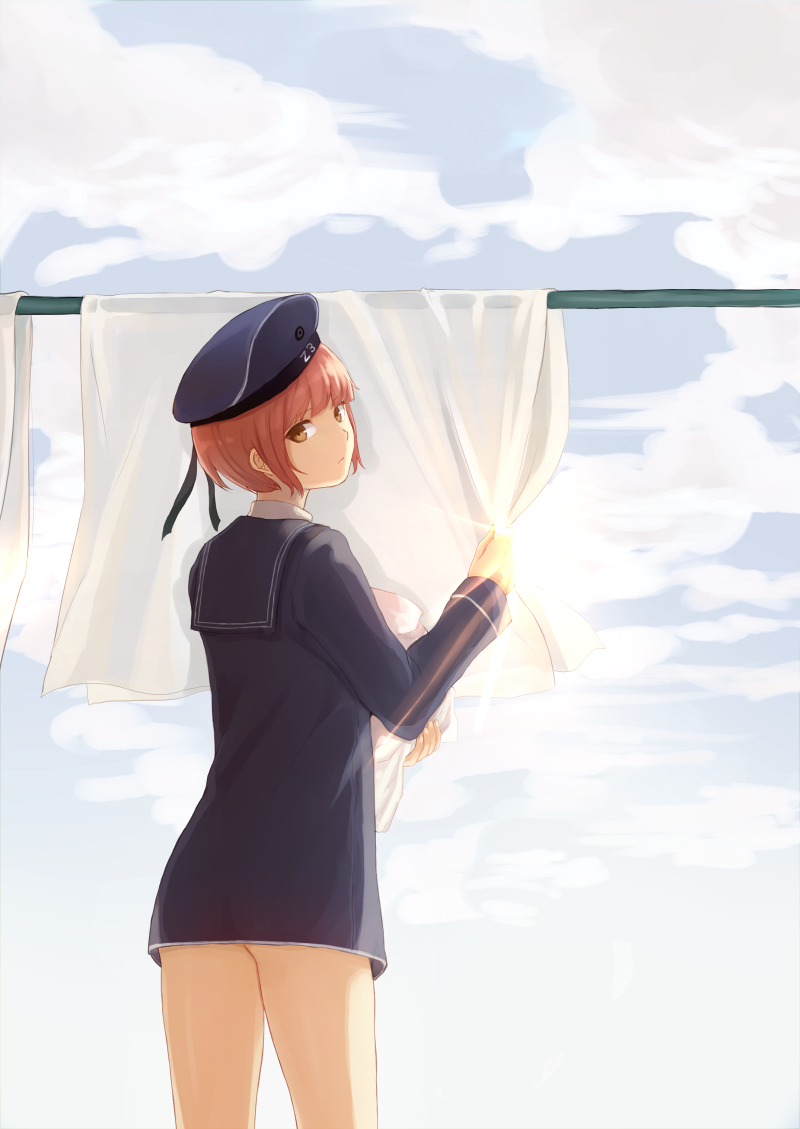 1girl bangs blue_dress blue_sky blunt_bangs brown_hair clothesline dress from_behind hat kagari_(kgr_000) kantai_collection laundry looking_at_viewer looking_back sailor_collar sailor_dress sailor_hat short_hair sky solo z3_max_schultz_(kantai_collection)