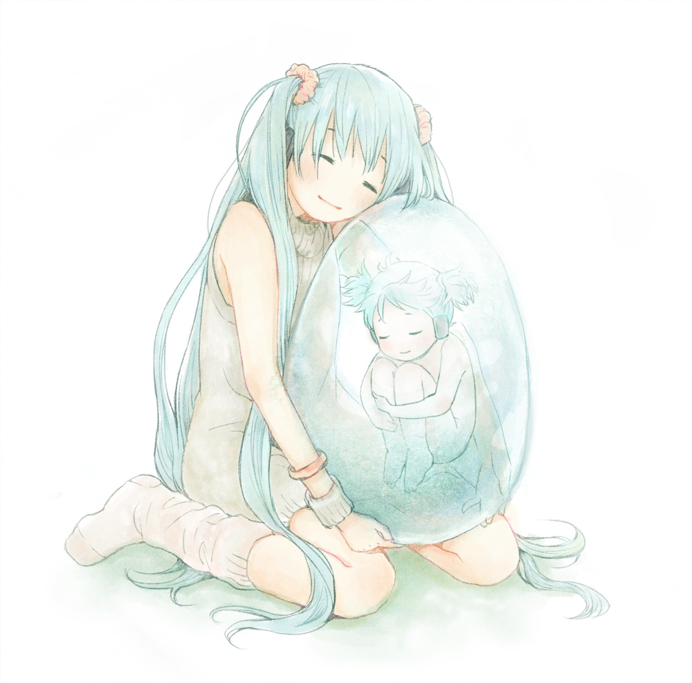 barefoot child closed_eyes egg hatsune_miku long_hair loose_socks plasm smile socks sweater_dress twintails vocaloid