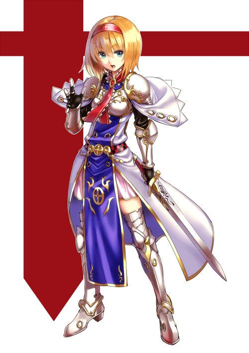 1girl alice_margatroid armor armored_boots armored_dress black_gloves blonde_hair blue_eyes capelet dress fingerless_gloves full_body gloves hairband knight looking_at_viewer open_mouth ribbon short_hair simple_background solo sword tabard takemori_shintarou touhou weapon white_background