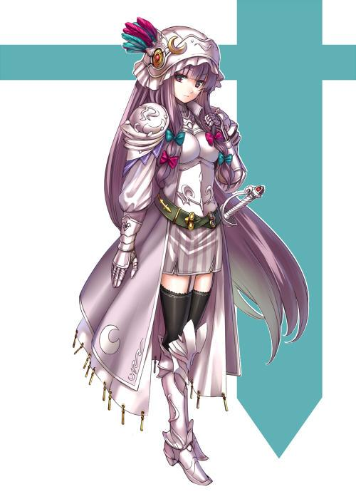 1girl alternate_costume alternate_headwear armor armored_boots armored_dress belt black_legwear bow crescent dress full_armor full_body hair_bow hair_ornament helmet knight long_hair long_sleeves looking_at_viewer patchouli_knowledge purple_hair simple_background solo striped sword takemori_shintarou thigh-highs touhou violet_eyes weapon zettai_ryouiki