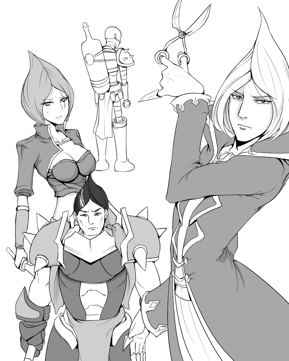 1girl 3boys alternate_hairstyle armor bald bandages bottle claws darius katarina_du_couteau league_of_legends looking_at_viewer monochrome multiple_boys scissors scofa shoulder_pads singed vladimir white_background