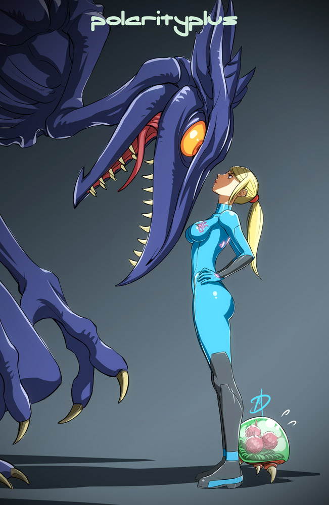 1girl alien blonde_hair blue_eyes bodysuit breasts daniel_macgregor faceoff flying_sweatdrops hands_on_hips height_difference hiding long_hair metroid metroid_(creature) orange_eyes out_of_frame ponytail ridley samus_aran size_difference skin_tight yellow_sclera zero_suit
