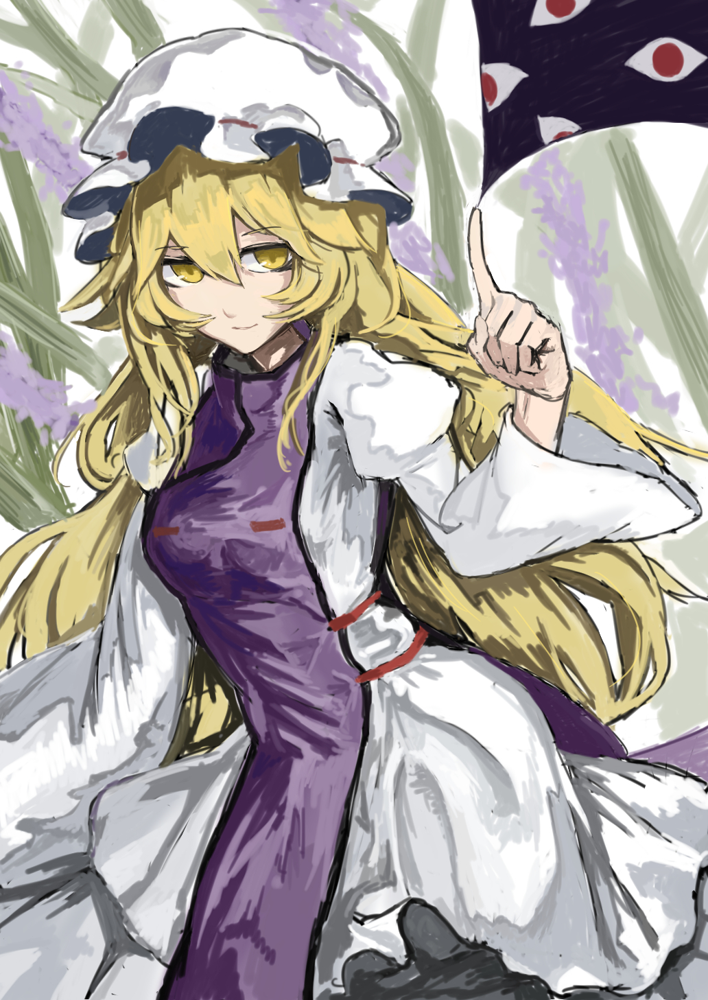1girl blonde_hair dress eyes gap highres long_hair mob_cap smile tabard touhou wide_sleeves yakumo_yukari yellow_eyes zeikomi