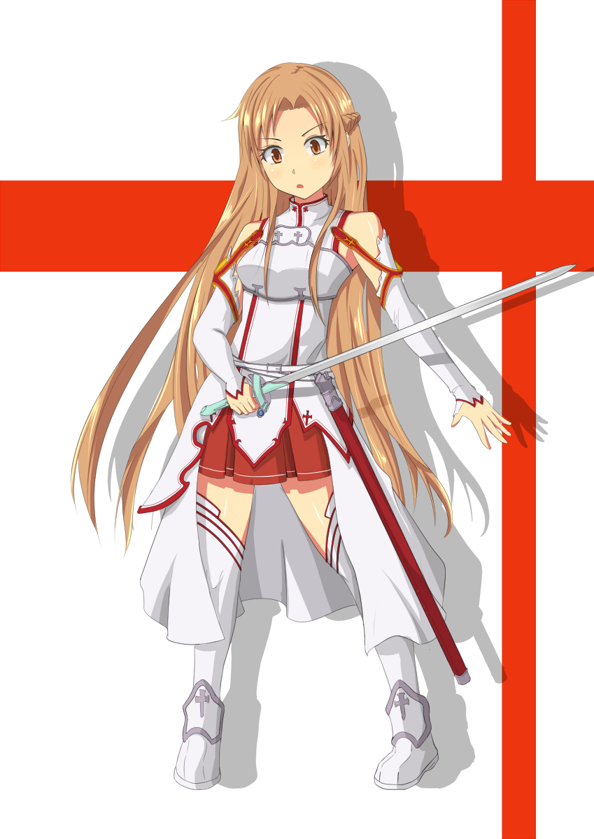1girl asuna_(sao) brown_eyes brown_hair chest_plate detached_sleeves highres holding kurohachiboku long_hair looking_at_viewer pleated_skirt rapier shadow shoes skirt solo sword sword_art_online weapon white_legwear yuuki_asuna
