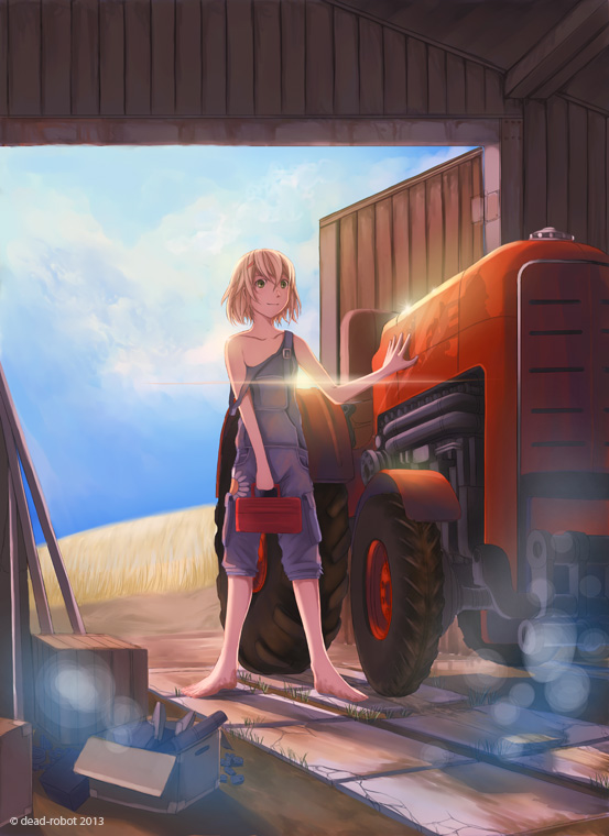 1girl blonde_hair clouds dead-robot farm naked_overalls original overalls sky solo toolbox tractor