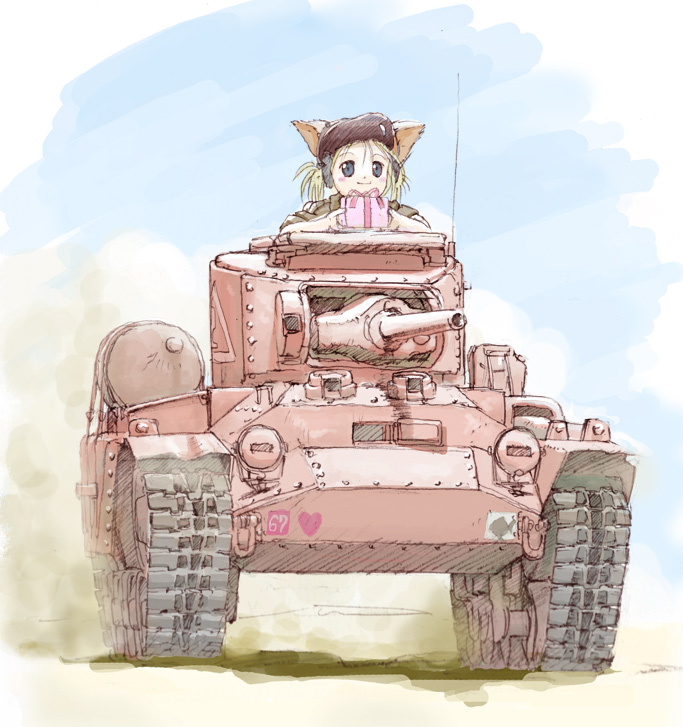 1girl animal_ears cat_ears caterpillar_tracks chocolate copyright_request happy_valentine heart ilma military military_vehicle pun solo tank valentine valentine_(tank) vehicle world_war_ii