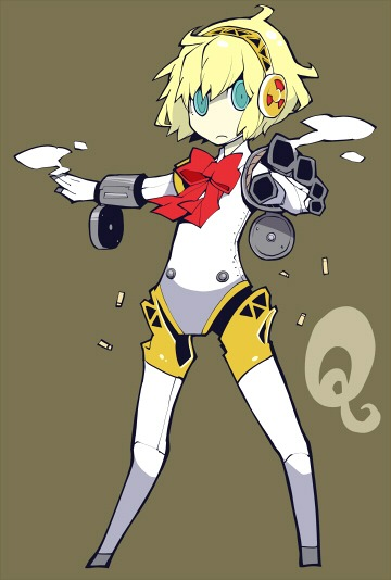 1girl aegis aegis_(persona) blonde_hair blue_eyes bow bullet_casing dowman_sayman persona persona_3 persona_q robot robot_girl robot_joints robotic_arms simple_background solo