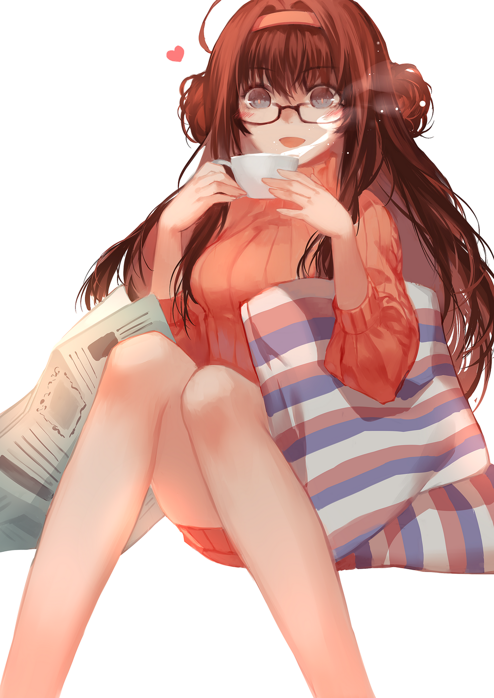 1girl ahoge alternate_costume bespectacled blue_eyes blush cup double_bun glasses hairband heart highres joseph_lee kantai_collection kongou_(kantai_collection) long_hair looking_at_viewer newspaper open_mouth pillow ribbed_sweater solo sweater teacup white_background