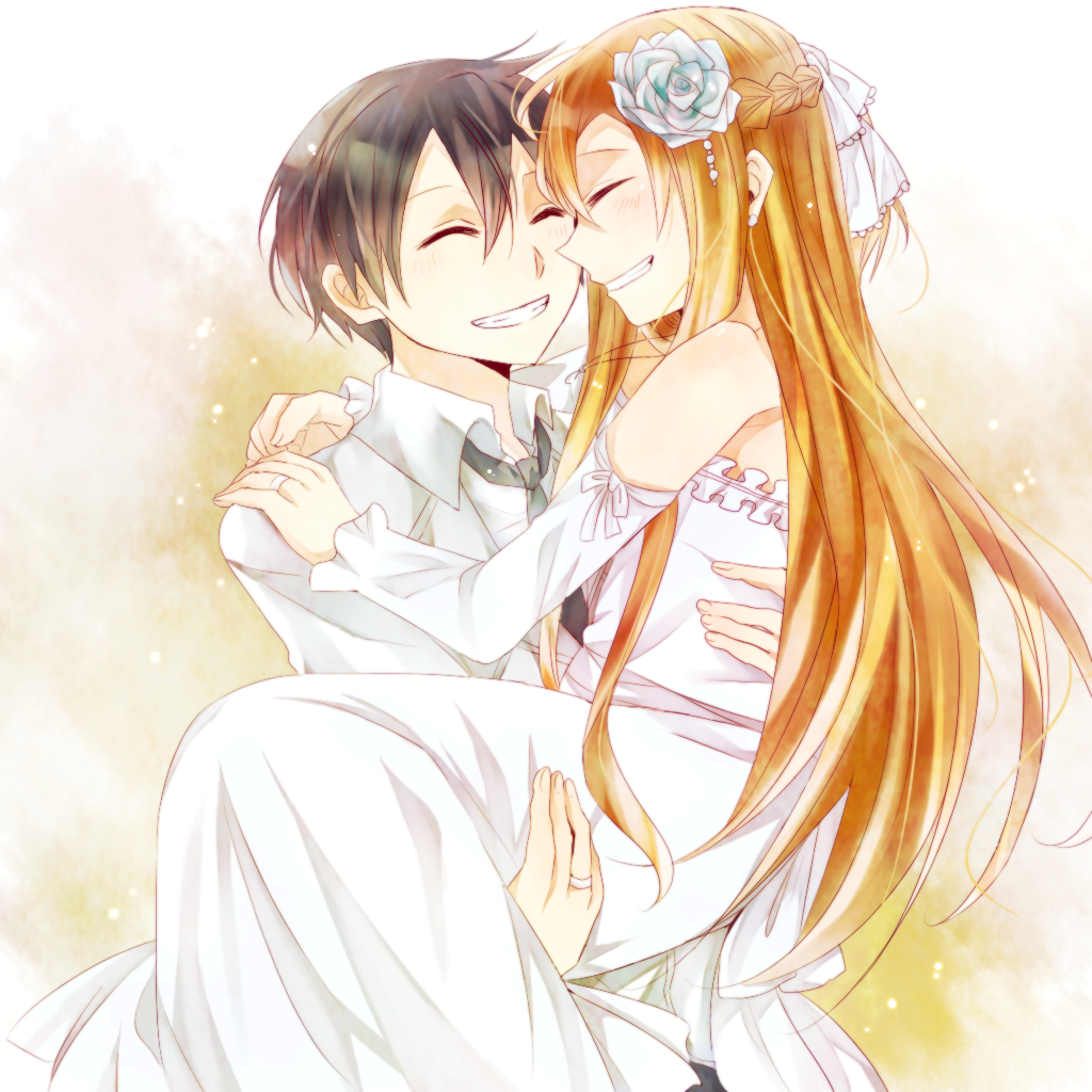 1boy 1girl asuna_(sao) black_hair brown_hair carrying closed_eyes couple dress formal getsuyoubi grin jewelry kirito long_hair necktie princess_carry ring short_hair smile suit sword_art_online wedding_dress yuuki_asuna