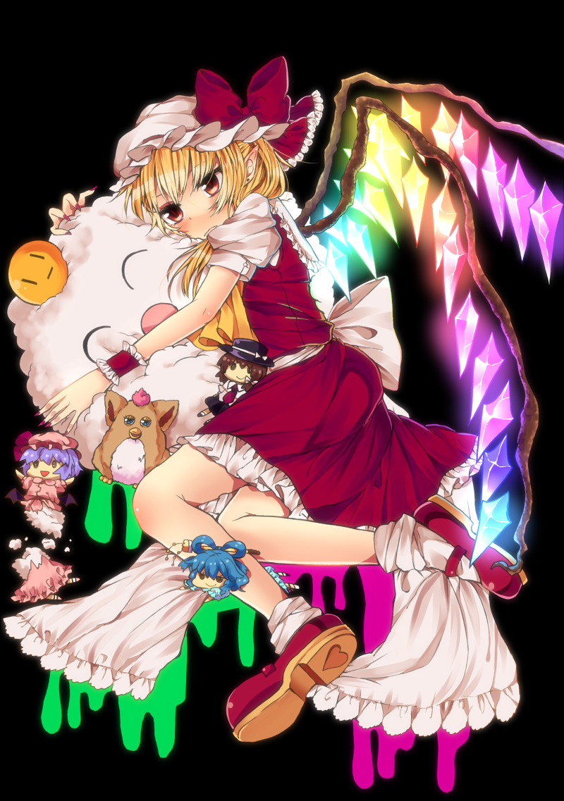 1girl ascot bat_wings blonde_hair blue_hair bow brown_hair character_doll cotton dress flandre_scarlet furby hair_bow hair_ornament hair_rings hair_stick hat hug kaku_seiga necktie open_mouth red_eyes remilia_scarlet retota ribbon short_hair side_ponytail skirt smile solo touhou usami_renko vest wings