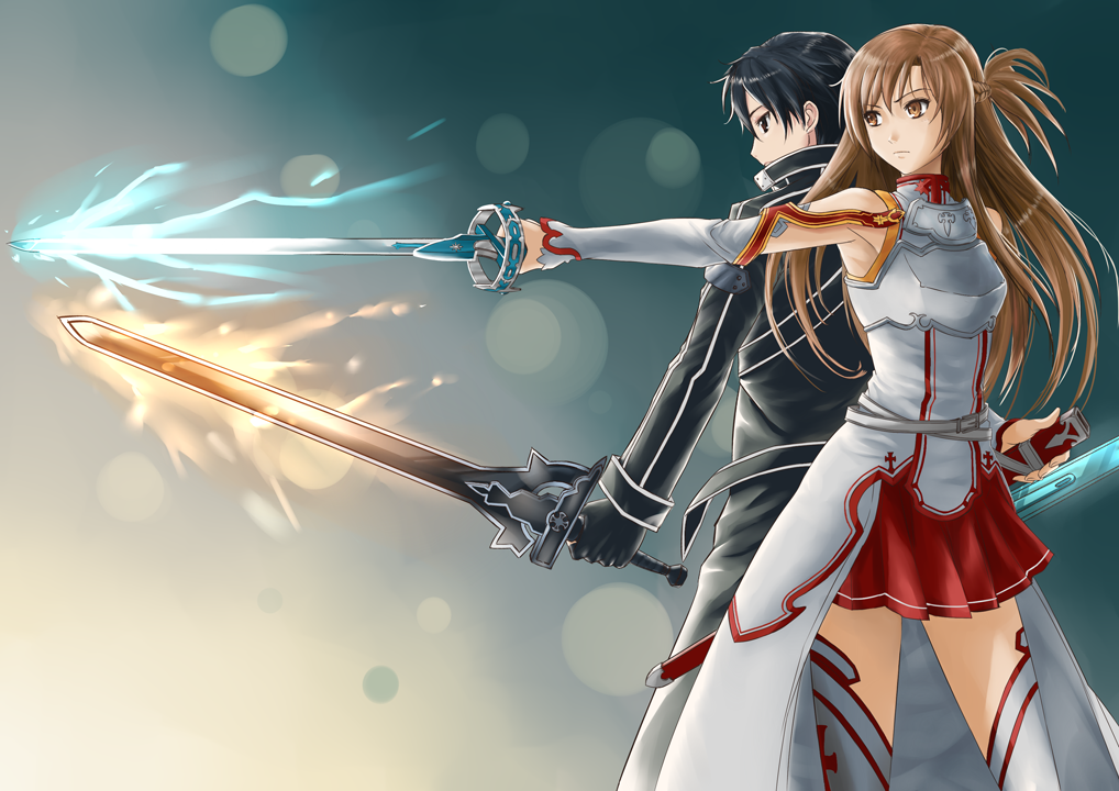 1boy 1girl asuna_(sao) back-to-back black_eyes black_hair brown_eyes brown_hair dual_wielding fighting_stance fingerless_gloves gloves jastersin21 kirito long_hair magic red_skirt sheath side_ponytail skirt small_breasts sword sword_art_online thigh-highs weapon yuuki_asuna