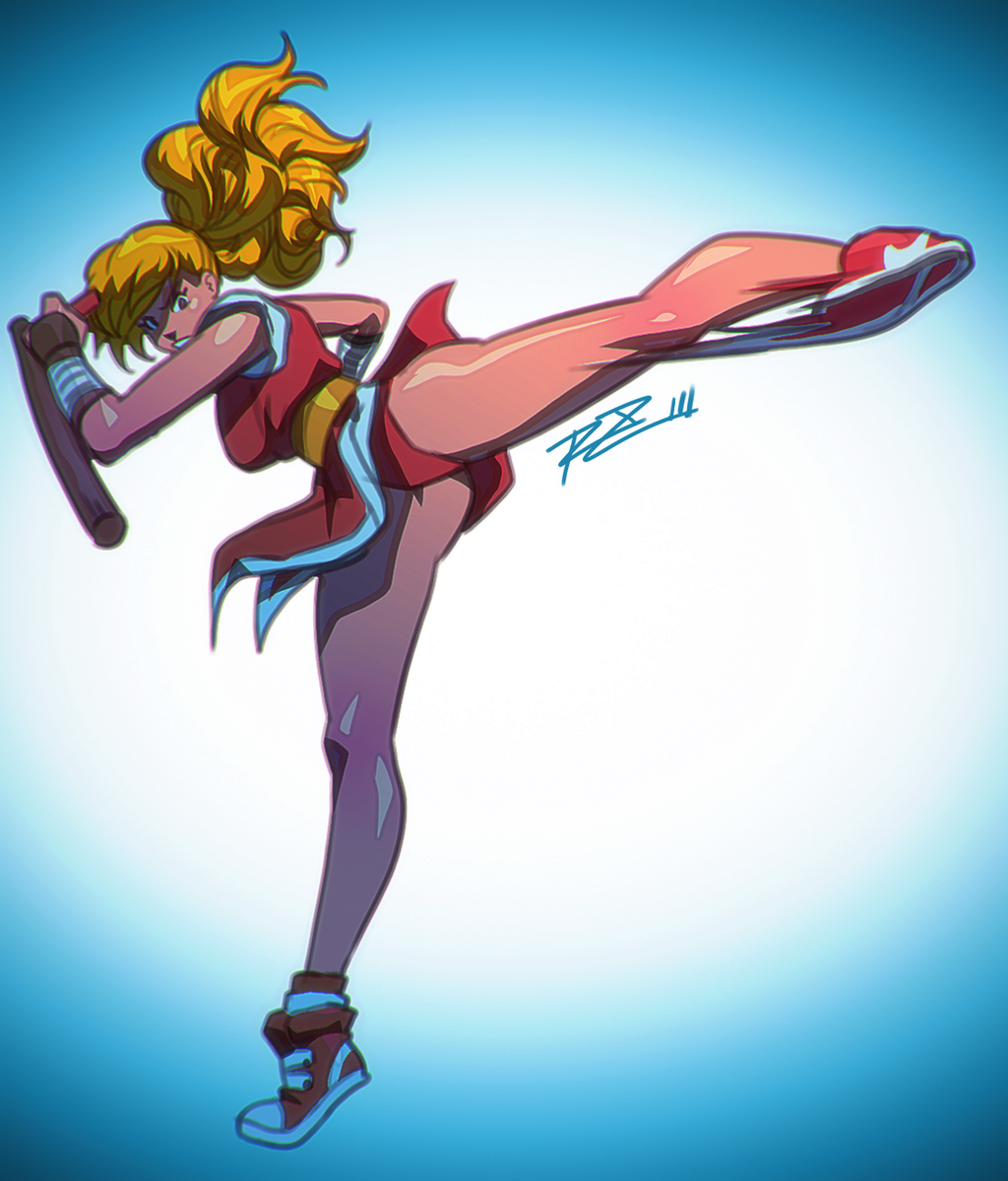 1girl blonde_hair breasts final_fight genryuusai_maki kicking long_hair motion_blur ninja ponytail robert_porter shoes sneakers solo standing_on_one_leg tonfa upskirt weapon