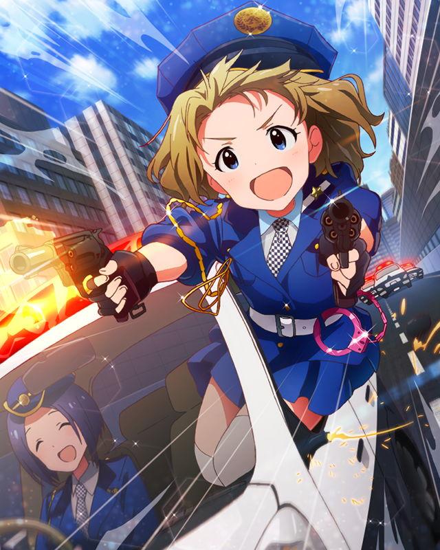 blue_eyes brown_hair car guns idolmaster idolmaster_million_live! open_mouth police short_hair suou_momoko