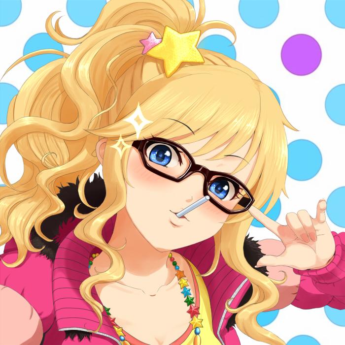 1girl blonde_hair blue_eyes candy glasses idolmaster idolmaster_cinderella_girls lollipop long_hair looking_at_viewer ootsuki_yui saty-rokuji solo