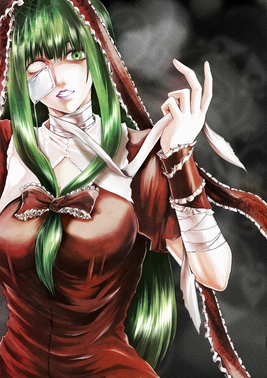 1girl bandages blank_eyes breasts bust clenched_teeth commentary_request creepy dress eyepatch front_ponytail green_eyes green_hair grey_background hair_ribbon highres kagiyama_hina large_breasts lips looking_at_viewer no_pupils parted_lips puffy_short_sleeves puffy_sleeves red_dress ribbon short_sleeves smoke solo tn_(nakamatic-arsenal) touhou unwrapping wrist_ribbon