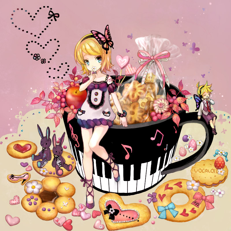 anko_kinako apple bare_legs bare_shoulders blonde_hair blue_eyes bow bunny butterfly butterfly_wings cookie cross-laced_footwear food fruit heart kagamine_len kagamine_rin miniboy musical_note piano_keys rabbit strawberry vocaloid wings