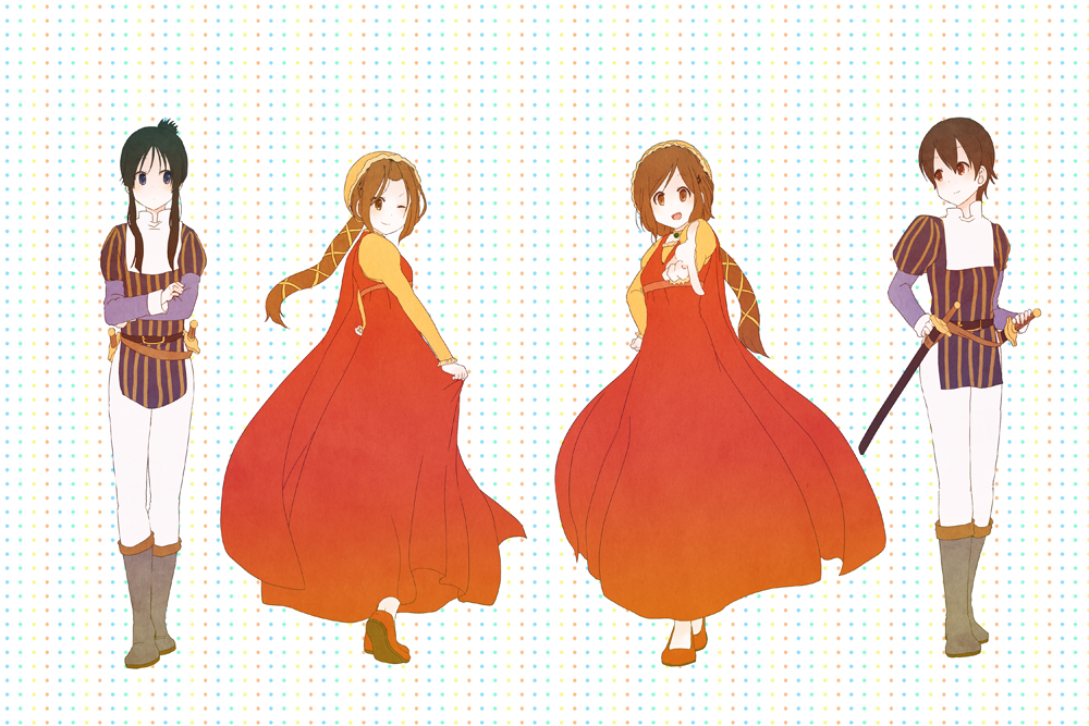 4girls akiyama_mio black_eyes black_hair brown_eyes brown_hair crossdressing dress hirasawa_yui k-on! komugiko long_hair manabe_nodoka multiple_girls no_glasses prince princess romeo_and_juliet short_hair tainaka_ritsu