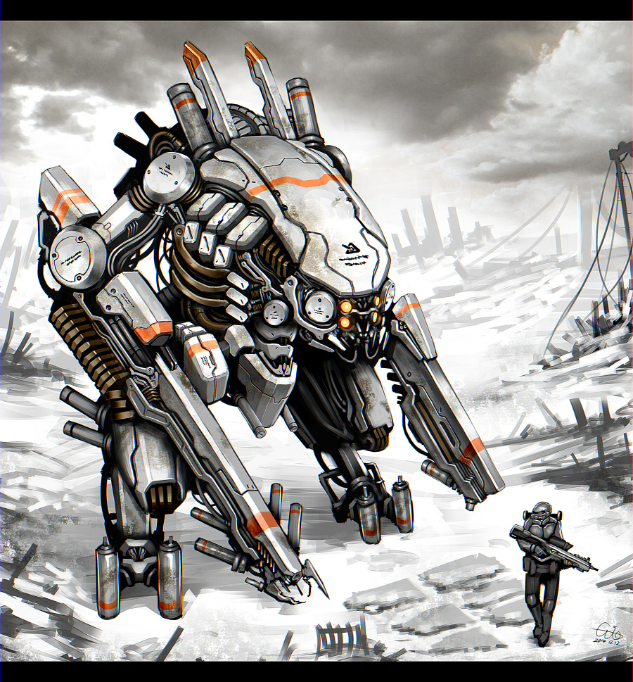 armor city gia gun helmet mecha original robot ruins science_fiction soldier weapon
