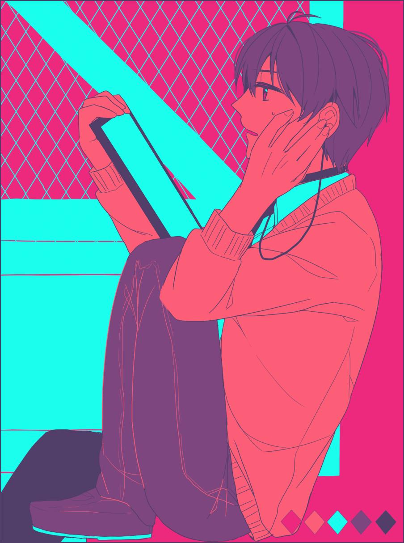 1boy aldnoah.zero checklist earphones earphones guroto highres kaizuka_inaho limited_palette solo