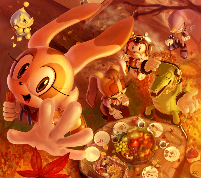 autumn autumn_leaves chao_(sonic) charmy_bee cheese_(sonic) cream_(sonic) eating espio_the_chameleon food from_above fruit gloves outstretched_hand rasein smile sonic_the_hedgehog vanilla_the_rabbit vector_the_crocodile