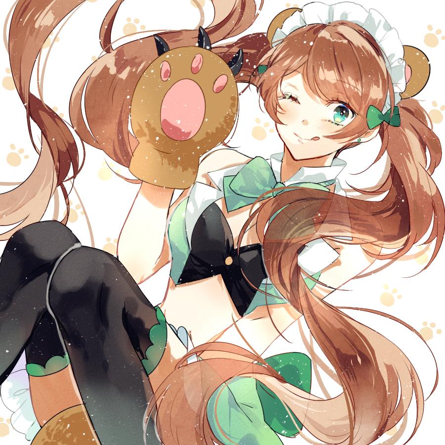1girl ;q animal_ears bear_ears bear_paws blush brown_hair long_hair looking_at_viewer maid_headdress one_eye_closed shirashima_yuri smile solo tongue tongue_out twintails very_long_hair yuri_kuma_arashi yurigasaki_lulu