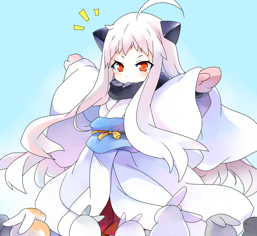 1girl ahoge alternate_costume covered_mouth horns japanese_clothes kantai_collection kimono long_hair mittens northern_ocean_hime orange_eyes outstretched_arms rabbit shinkaisei-kan spread_arms white_hair white_skin yostxxx