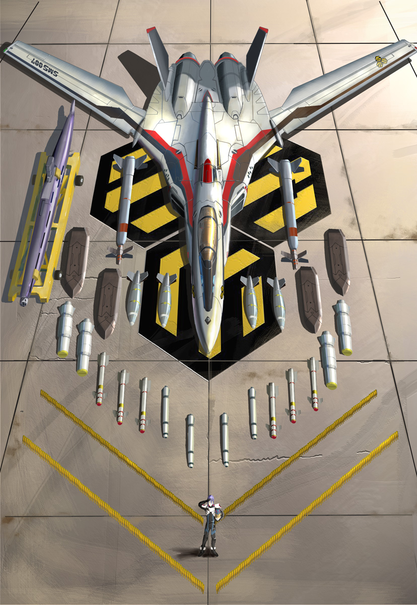 airplane armor bomb emblem gunpod hangar highres i.t.o_daynamics jet looking_at_viewer looking_up macross macross_frontier mecha missile nuke pilot_suit realistic s.m.s. salute saotome_alto science_fiction spacesuit vf-25 weapon