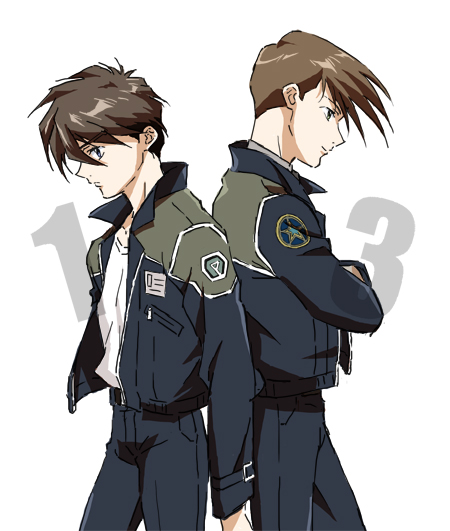 2boys blue_eyes brown_hair crossed_arms green_eyes gundam gundam_wing heero_yuy jacket multiple_boys smile tktn trowa_barton uniform