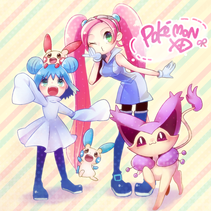 2girls delcatty lovrina_(pokemon) mana_(pokemon) minun mizoreame multiple_girls pantyhose plusle pokemon pokemon_(creature) pokemon_(game) pokemon_xd thigh-highs