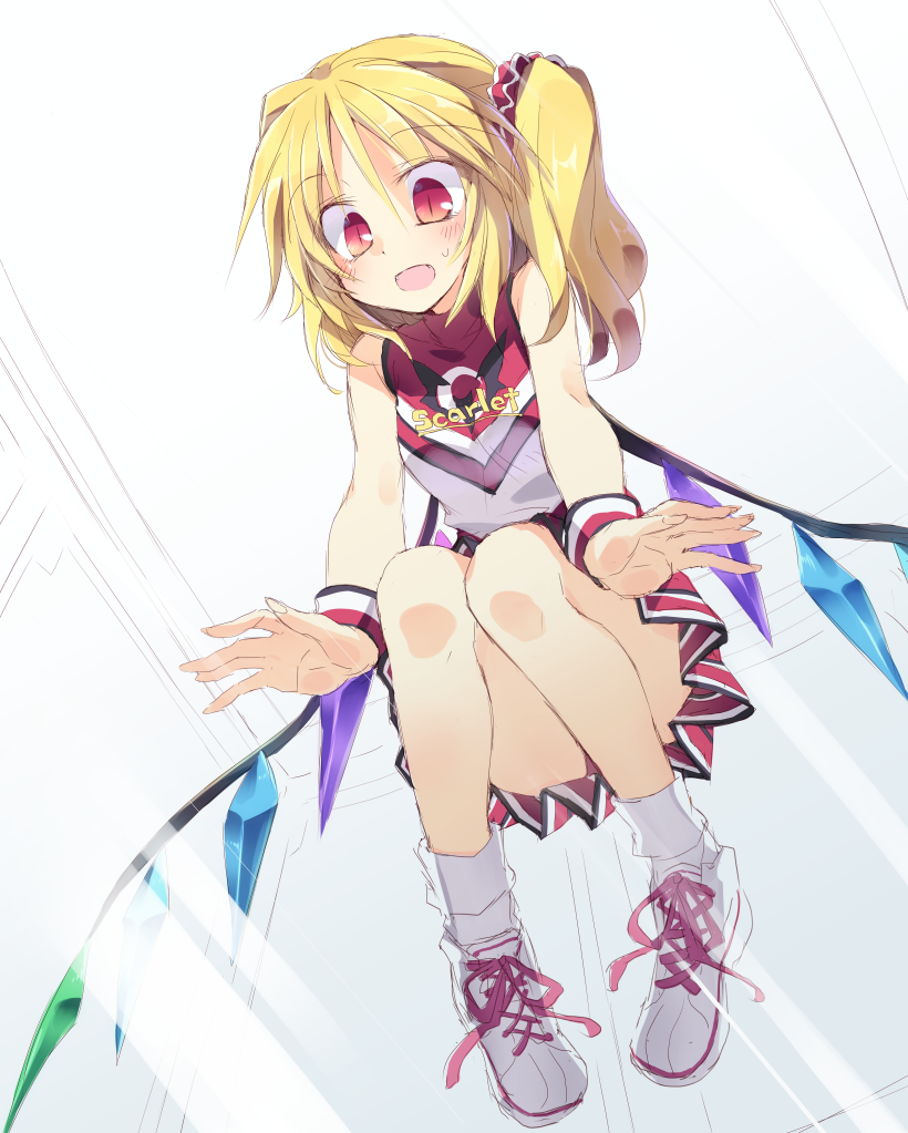 1girl against_glass all_fours alternate_costume ass blonde_hair blush cheerleader convenient_leg crystal flandre_scarlet from_below hair_ornament hair_ribbon no_hat open_mouth panties ponytail red_eyes ribbon satou_kibi shirt shoes short_hair side_ponytail skirt sleeveless smile sneakers socks solo sportswear sweatdrop touhou underwear white_legwear wings wrist_cuffs