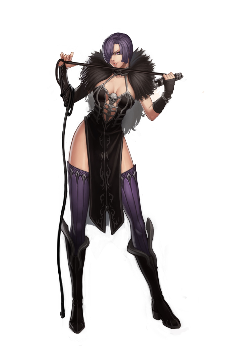 1girl boots breasts choker cleavage diestro feather_boa full_body hair_over_one_eye highres knee_boots long_legs mismatched_gloves original purple_hair purple_legwear short_hair side_slit solo thigh-highs violet_eyes whip