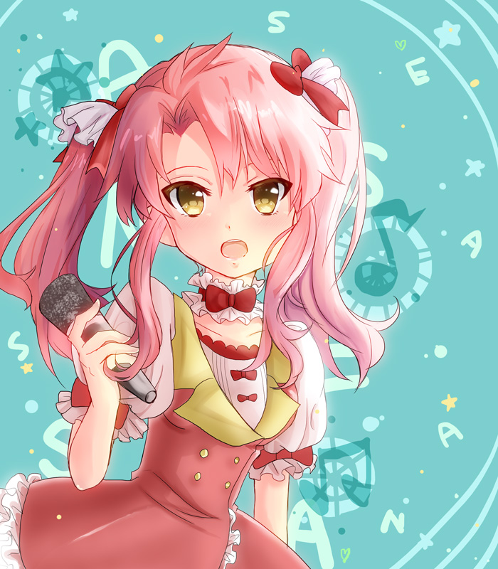 1girl amber_eyes anessa_rossetti buddy_complex pink_hair ribbon solo twintails