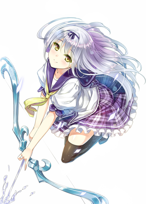 1girl amber_eyes arrow black_legwear blush bow collarbone frilled_skirt frills hair_ribbon holding holding_weapon huyukaaki jumping liquid long_hair looking_at_viewer looking_up neckerchief original plaid plaid_skirt ribbon school_uniform serafuku shirt short_sleeves silver_hair simple_background skirt smile solo thigh-highs uniform white_shirt